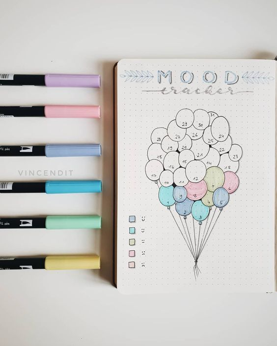 fly higher bullet journal mood tracker
