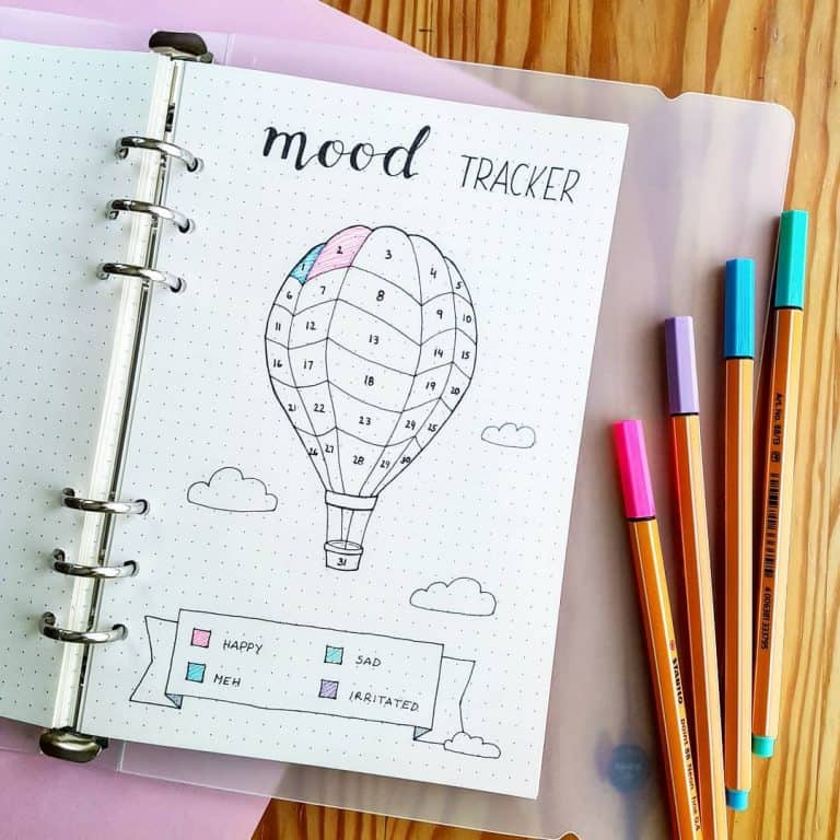 hot air balloon mood tracker