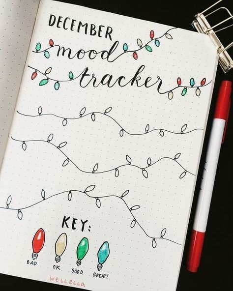 fairy lights bullet journal mood tracker