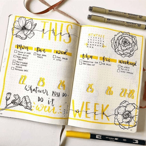 yellow floral  bullet journal weekly spread