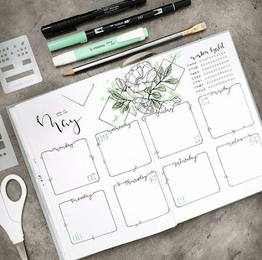floral  bullet journal weekly spread ideas
