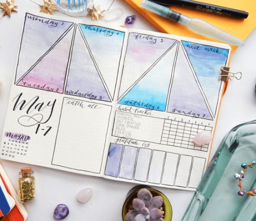 crystal themed weekly spread