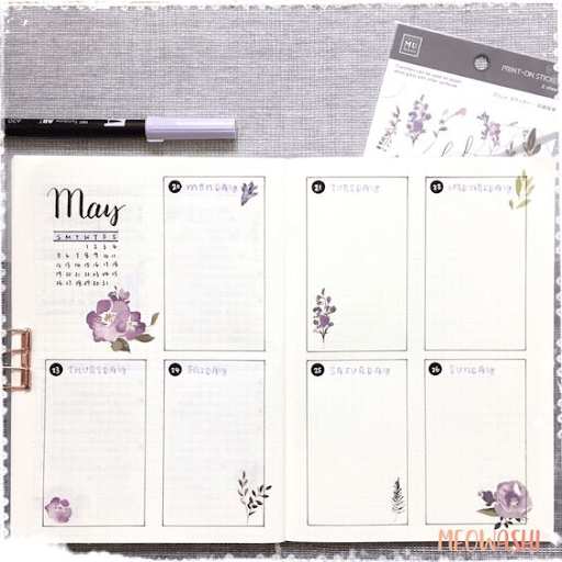 lavender  bullet journal weekly spread
