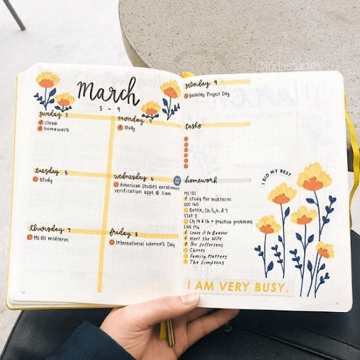 yellow cute  bullet journal weekly spread