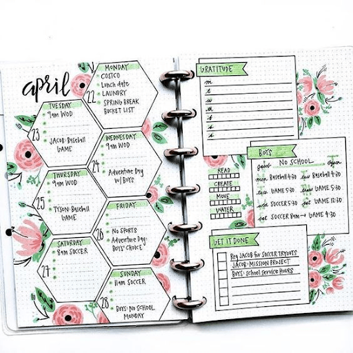 floral  bullet journal weekly spread layout