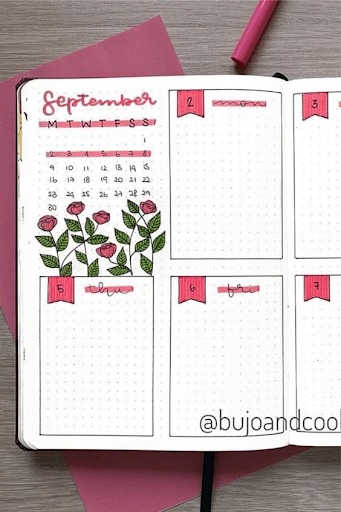 floral pink  bullet journal weekly spread