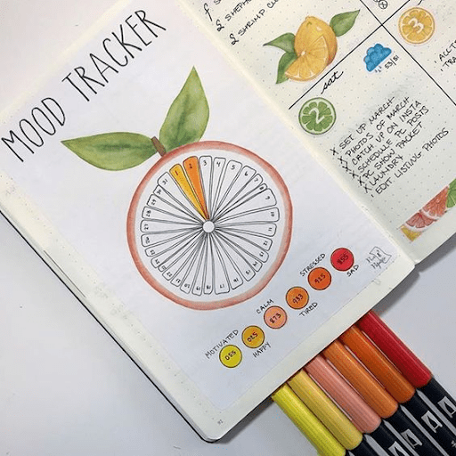 lemon heaven bullet journal habit tracker mood tracker