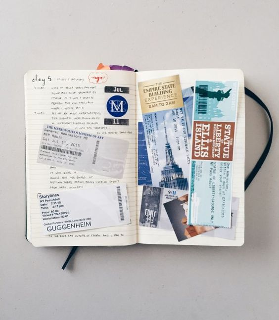 Tickets and souvenirs Travelogue