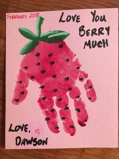 handprint strawberry card for dad