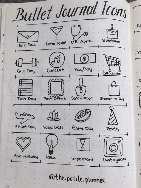 bullet journal icons