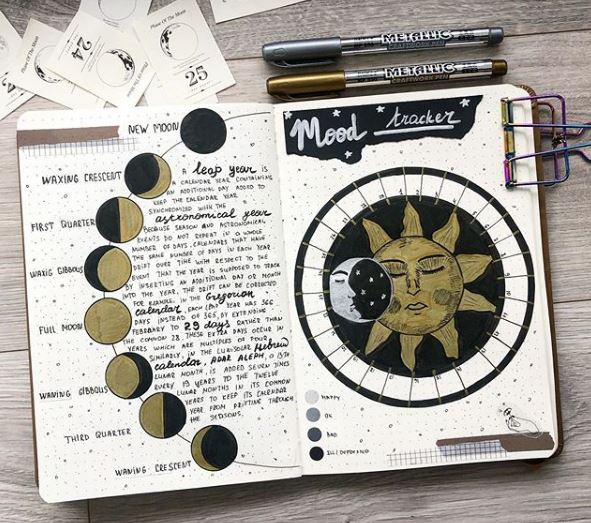 Sun And Moon Mood Tracker bullet journal