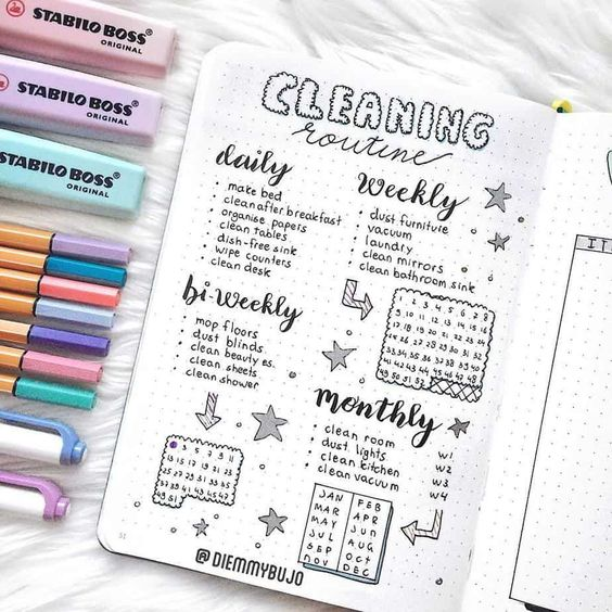 bujo cleaning schedule