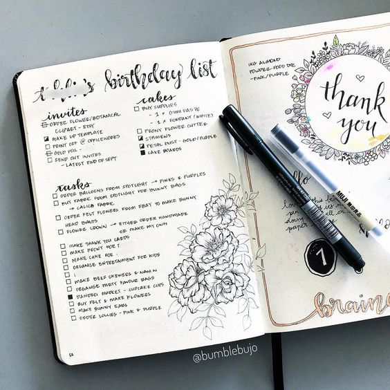 bullet journal party checklist
