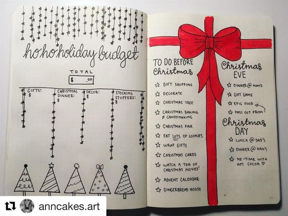 bullet journal holiday page