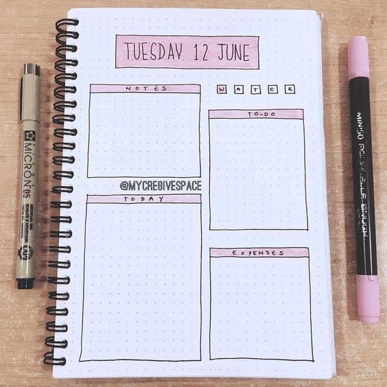 daily layout minimalist bullet journal