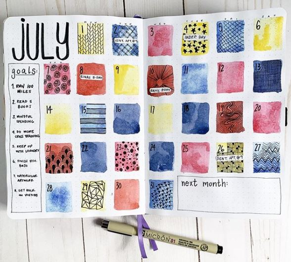 July month at a glance