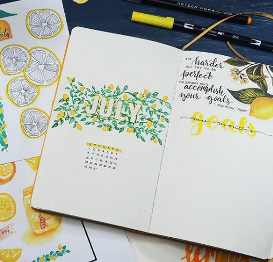 july bullet journal cover