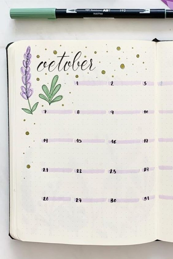 simple bullet journal monthly