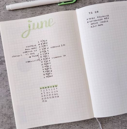 minimalist bullet journal monthly