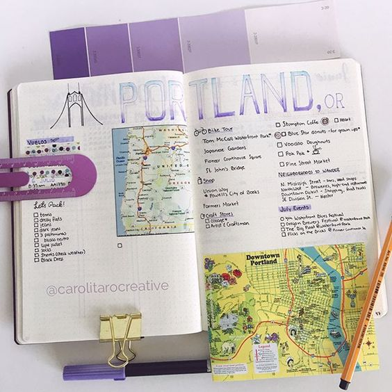 bullet journal travel itinerary