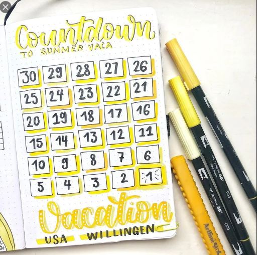 vacation countdown bullet travel journal
