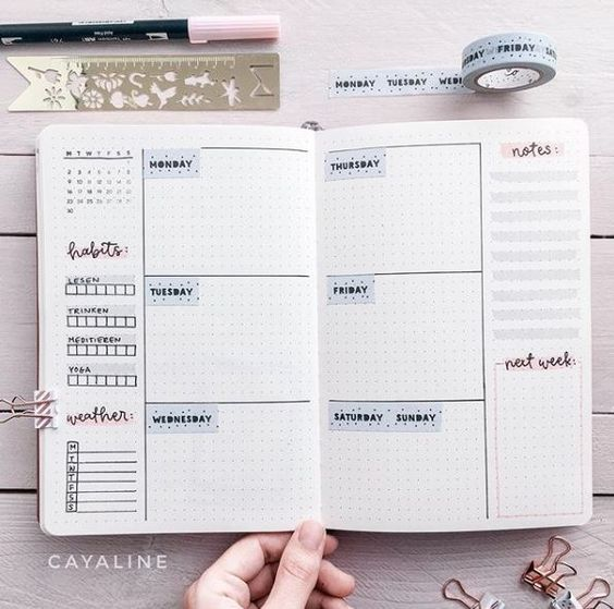 easy bullet journal weekly layout