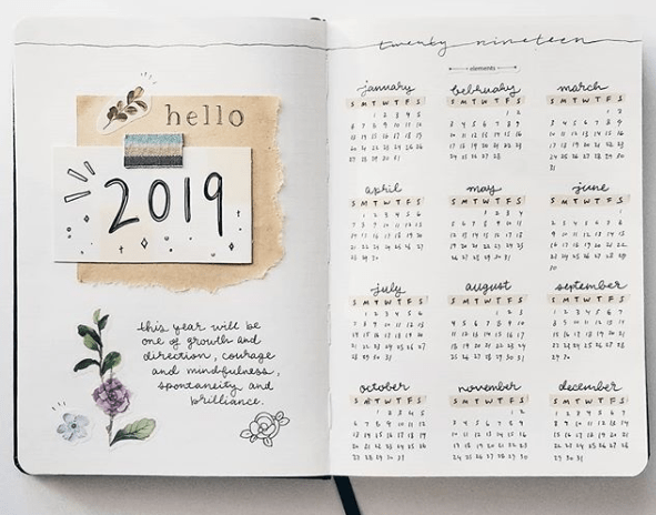 bujo year at a glance