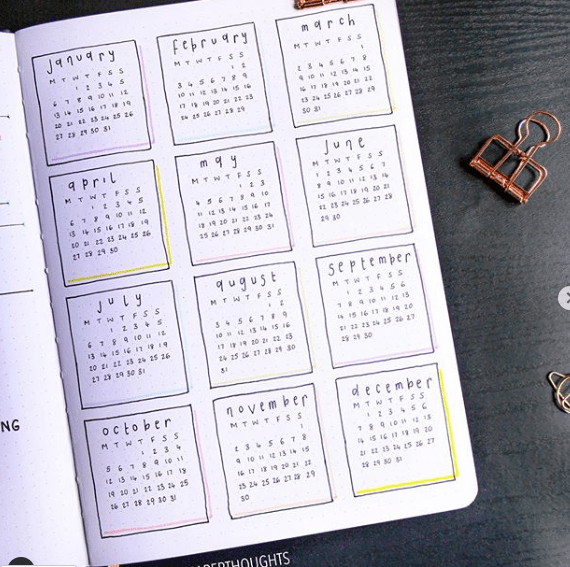 bullet journal yearly