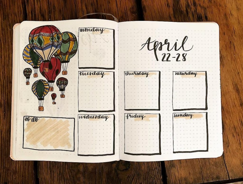 April hot air balloon journal monthly spread