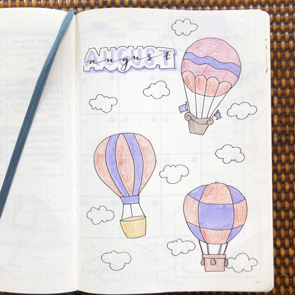 August hot air balloon bullet journal theme 5
