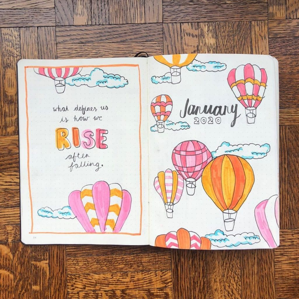 january hot air balloon monthly spread