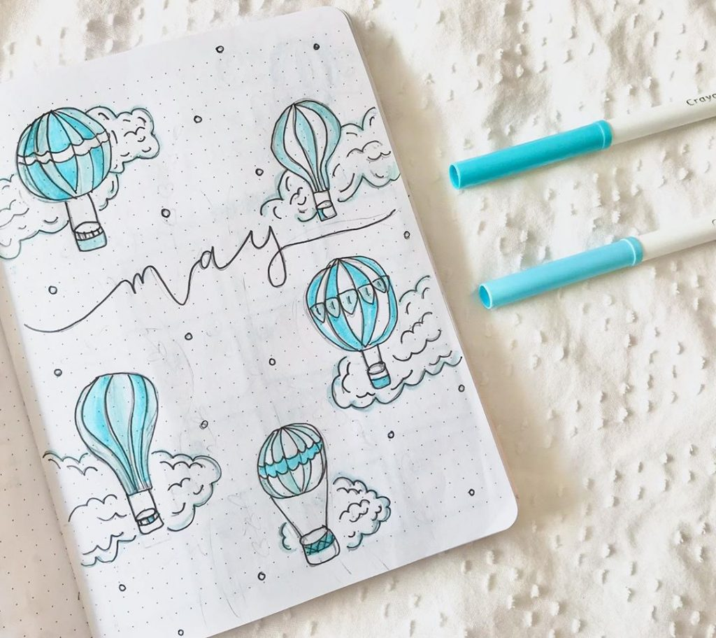 May hot air balloon bullet journal monthly spread