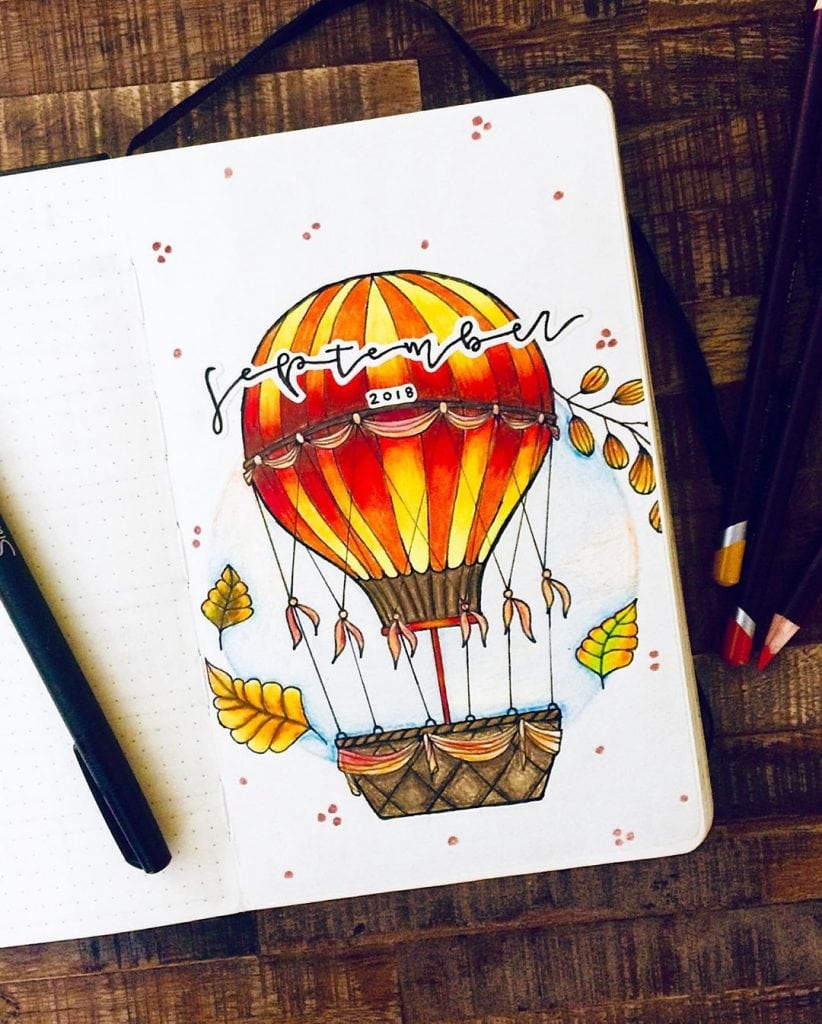 September bullet journal hot air balloon theme 5