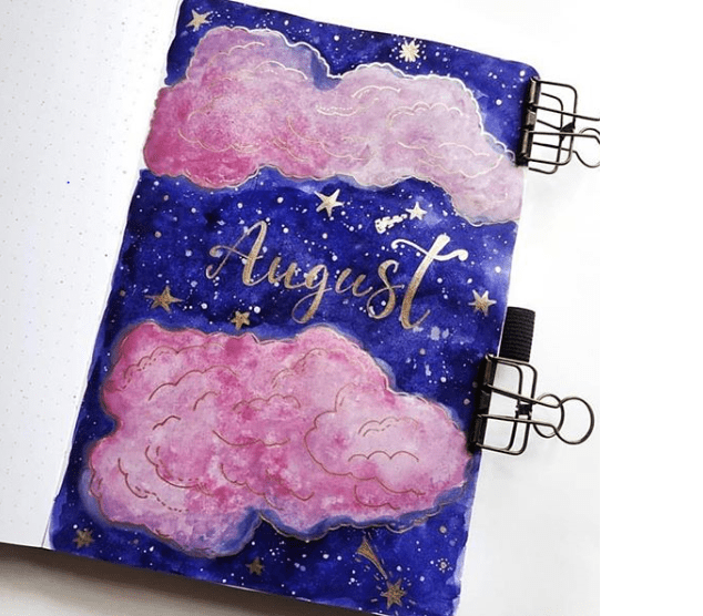bujo cover for august