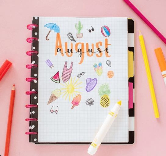 August bujo cover page ideas
