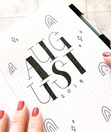 cover page for august bullet journal