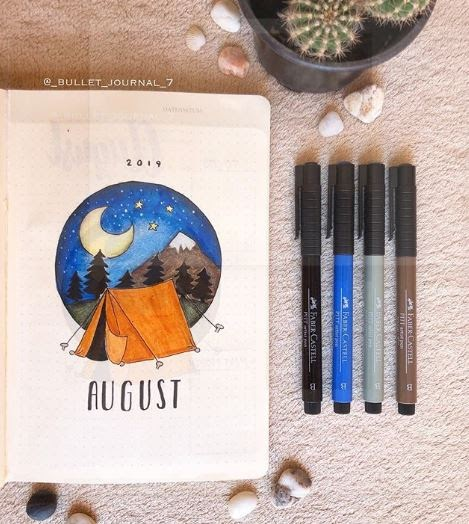 bujo layouts for august