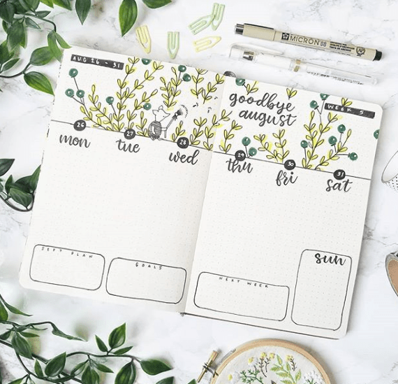 august bullet journal layout
