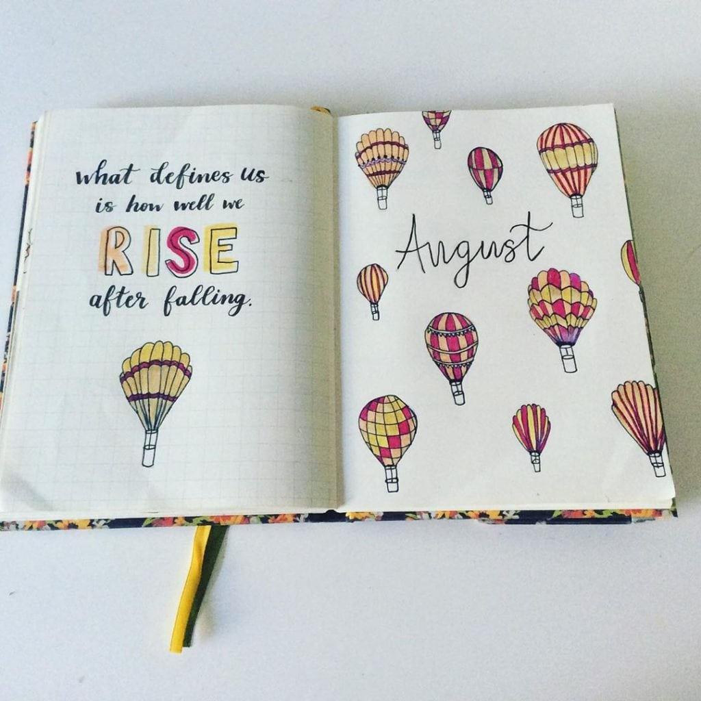 bullet journal hot air balloon