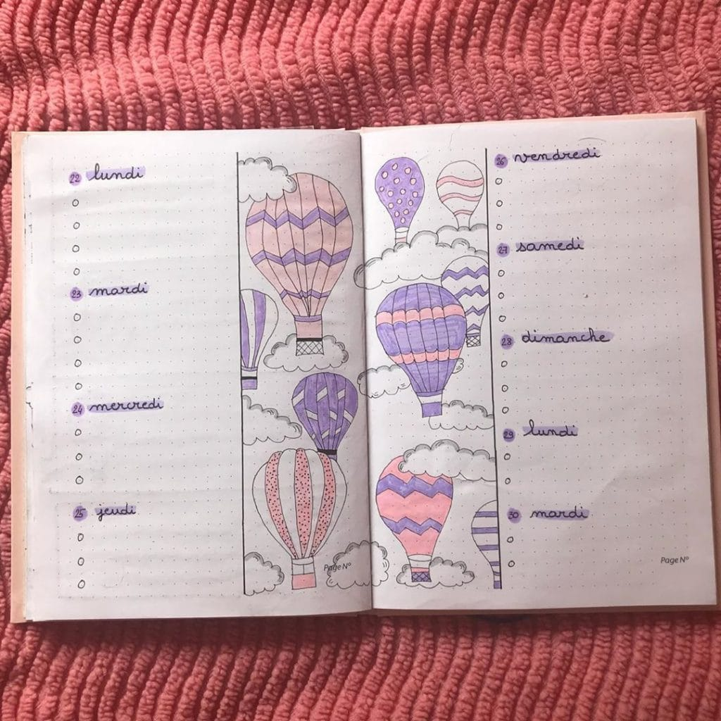 bullet journal hot air balloon theme