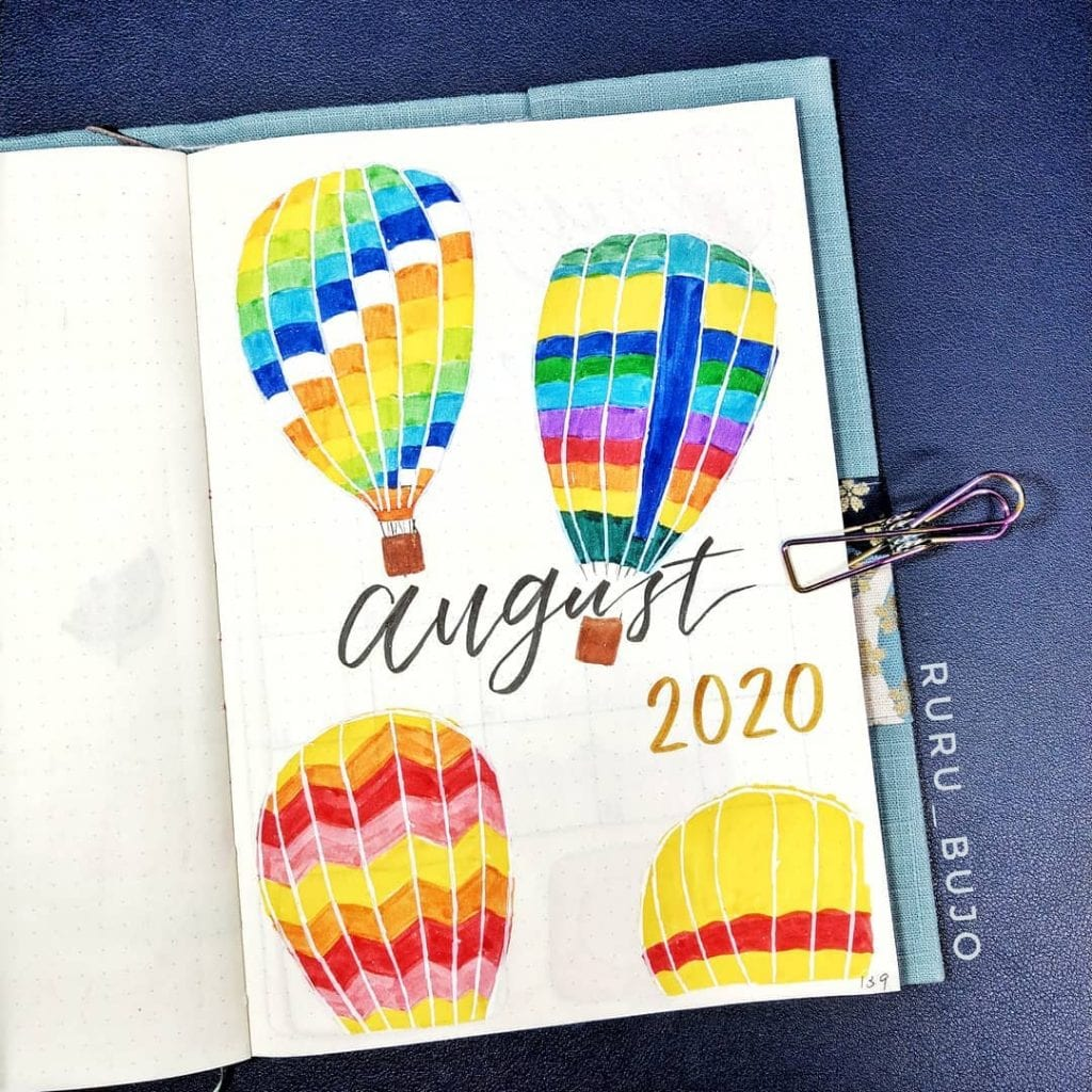 bullet journal hot air balloon theme 2