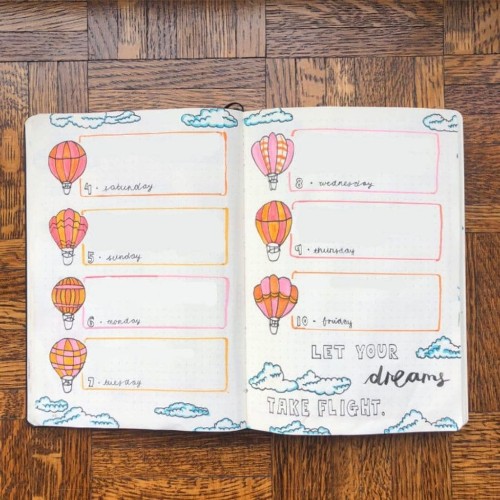 hot air balloon theme weekly spread