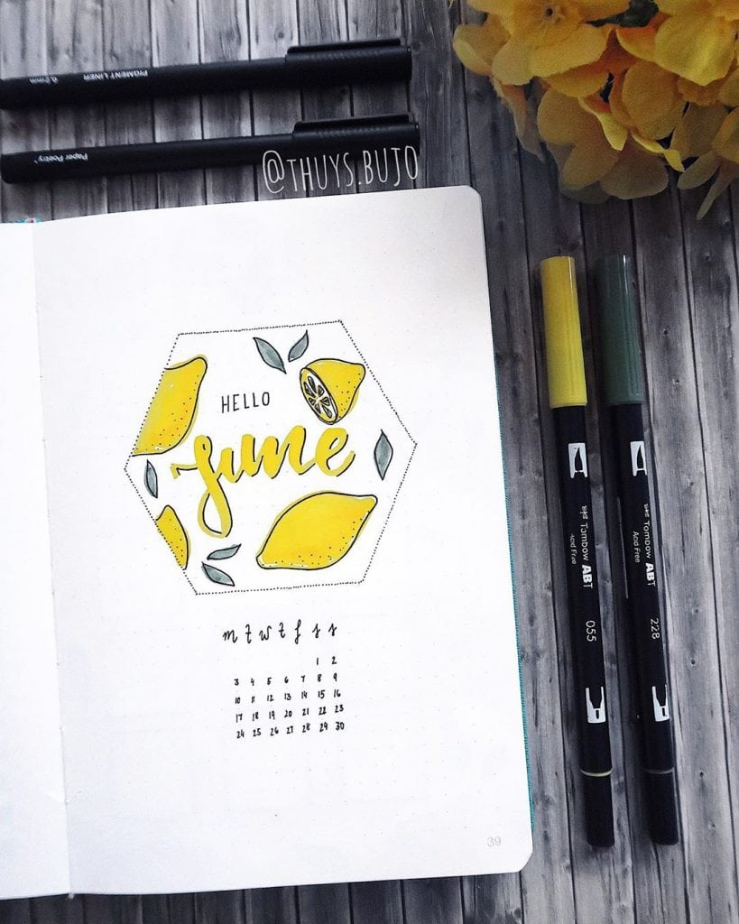 bullet journal lemon june cover