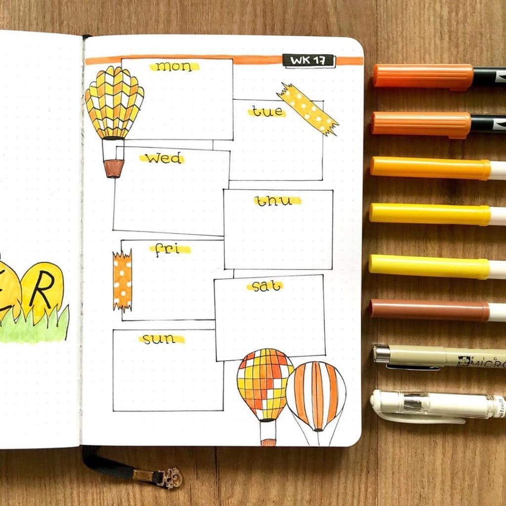 hot air ballon journal weekly spread