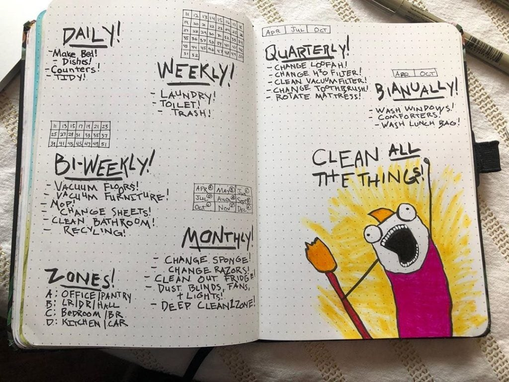 Bullet Journal Cleaning Spread 8