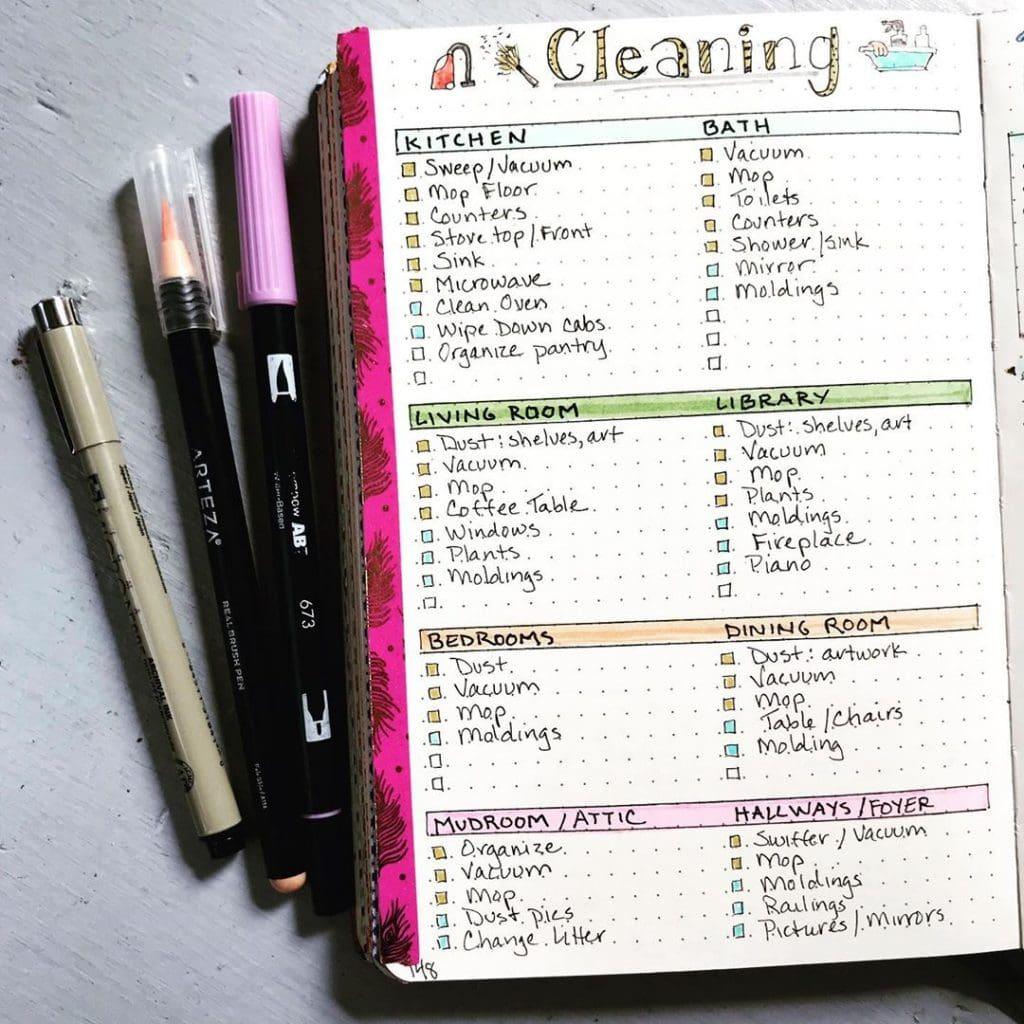 Bullet Journal Cleaning Spread 9