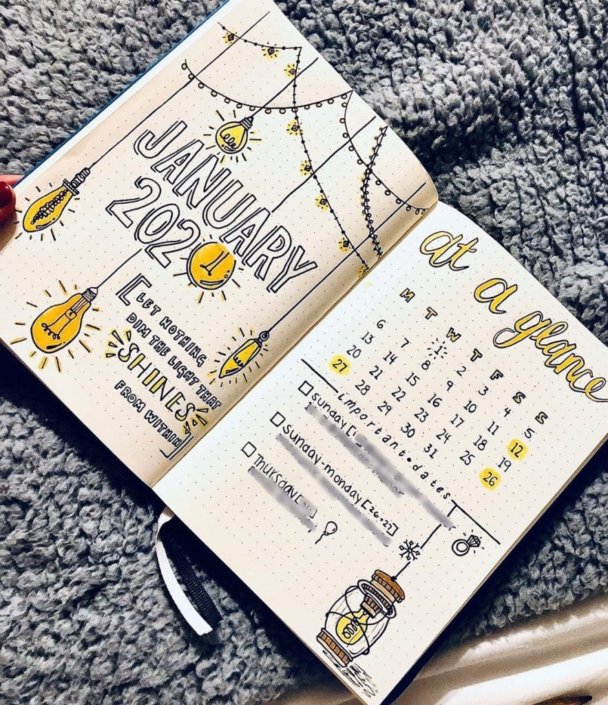 Bullet Journal Light Bulb Monthly Layout Theme 1