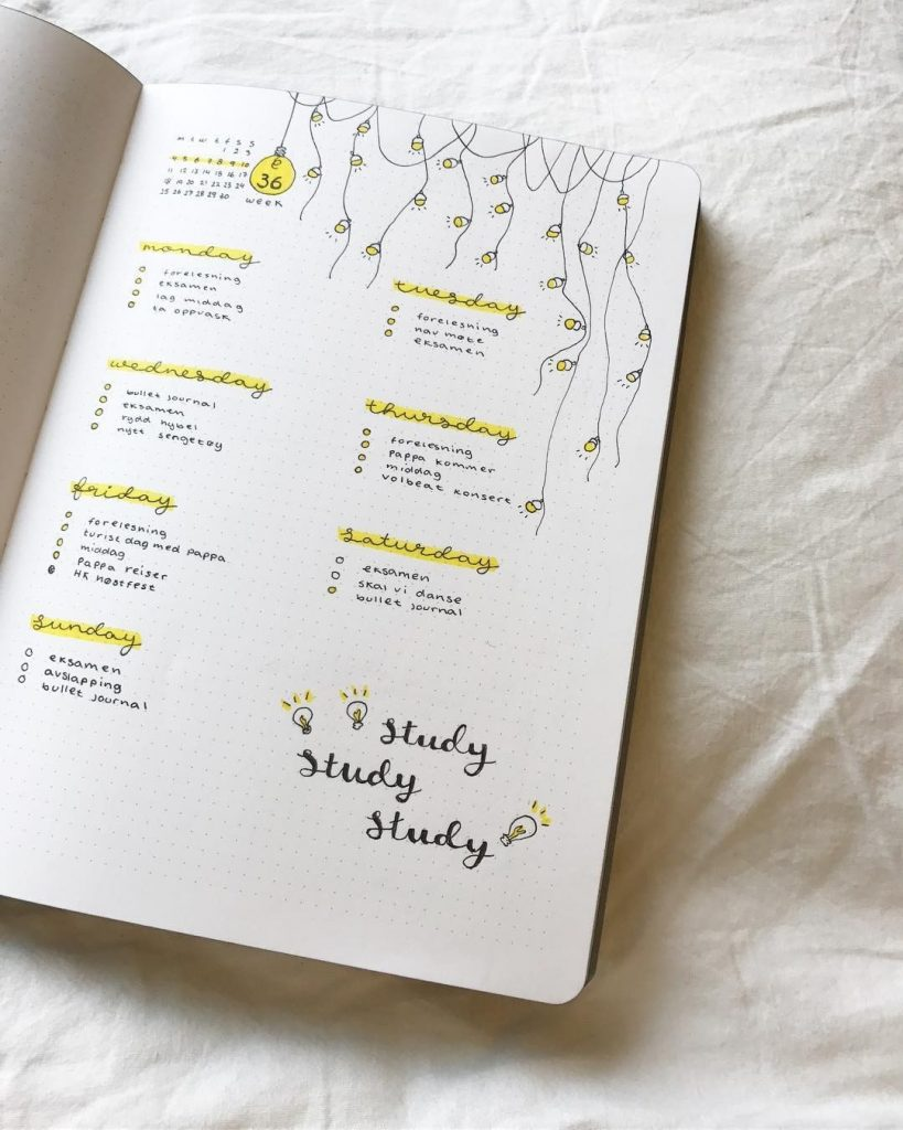 Bullet Journal Light Bulb Weekly Layout Theme 4