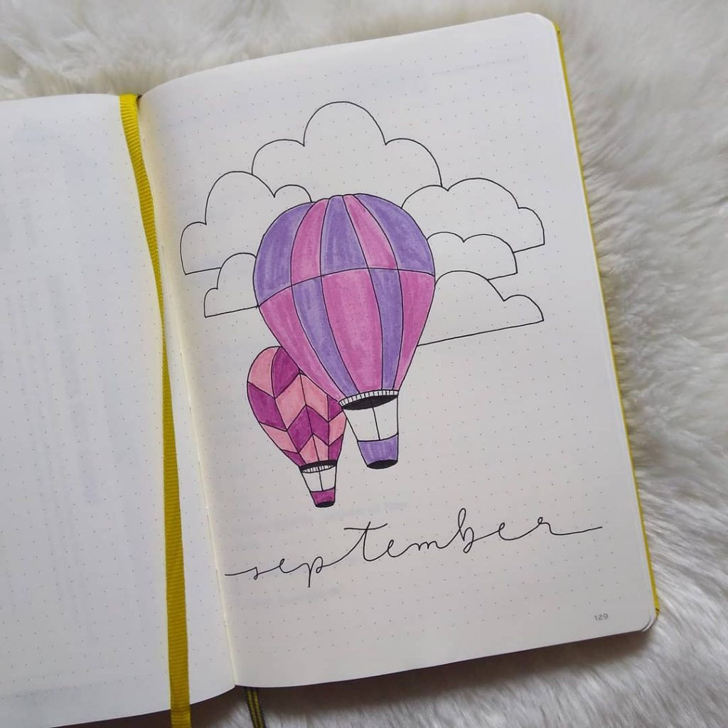 Cover page hot air balloon bullet journal