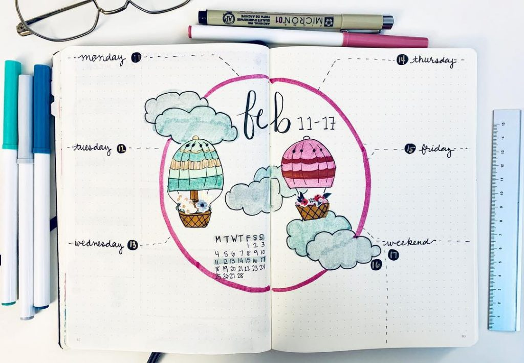 February hot air balloon bullet journal weekly